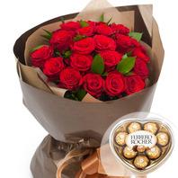 장미꽃다발+초콜릿